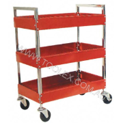 Service Cart 760 x 410 x 910 Red 3 Trays 160kg Load Capacity