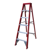Ladder Step Single 1.8m 150kg Fibreglass Industrial Red 6ft Single Sided As/Nzs1892.3:1996
