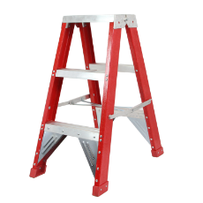 Ladder Step Double 0.9m 150kg Fibreglass Industrial Red 3ft Double Sided As/Nzs1892.3:1996
