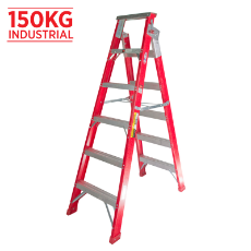 Ladder Dual Purpose 1.8m 3.3m 150kg Fibreglass Industrial Red 6ft 10ft-10in As/Nzs1892.3