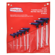 Allen Key Hex & Ball 8 Piece Set: 2mm-10mm Metric Chrome T-Handle