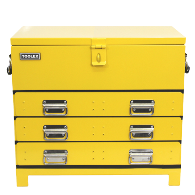 Truck Box Steel 705 x 405 x 635 Yellow Heavy Duty 3 Drawer 4 Tray