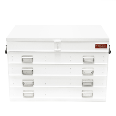 Truck Box Steel 880 x 540 x 600 White Heavy Duty 4 Drawer with Gas Struts