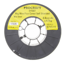 Wire Mig E71T-11 0.8MM 4.5 Kg Flux Cored Self Shielded Multiple Pass Gasless