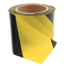 Safety Tape Yellow Black 75mm 100M Roll 50Micron